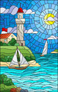 Stained glass illustration with sea view, three ships and a shore with a lighthouse in the background of day cloud sky sun and sea