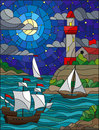 Stained glass illustration  with sea view, three ships and a shore with a lighthouse in the background of sterry cloud sky , moon Royalty Free Stock Photo