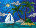 Stained glass illustration with the seascape, tropical island with palm trees and a sailboat on a background of ocean , moon and