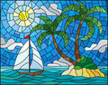 Stained glass illustration with the seascape, tropical island with palm trees and a sailboat on a background of ocean , sun and cl Royalty Free Stock Photo