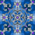 Stained glass illustration , square mirror image with silver floral ornaments and swirls n a blue background Royalty Free Stock Photo