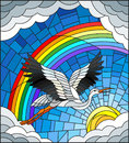 Stained glass illustration stork on the background of sky, sun , clouds and rainbow