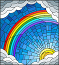 Stained glass illustration sun ,rainbow and clouds on blue sky background