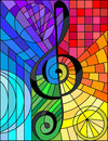 Stained glass illustration of a treble clef,rainbow background Royalty Free Stock Photo