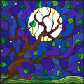 Stained glass illustration with tree on sky background with the stars and moon