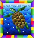Stained glass illustration turtle into the waves and bubbles of air in a bright frame