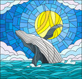 Stained glass illustration with a whale on the background of water ,cloud, sky and sun