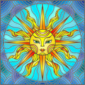 Stained glass illustration window abstract sun
