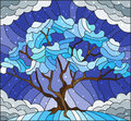 Stained glass illustration with winter tree on sky background with the snow