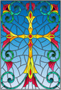Stained glass illustration with a yellow cross on a purple background with patterns and swirls