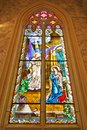 Stained glass Inside Interior a Catholic Church Stock Photos