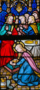 Stained Glass - Jesus Anointed by a Sinful Woman Royalty Free Stock Photo