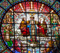Stained Glass Jesus Mary Rose Window Monastery Montserrat Royalty Free Stock Photo