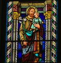 Stained Glass - Joseph and the Child Jesus Royalty Free Stock Photo