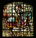 Stained glass of king Alfonso VIII of Castilla. Royalty Free Stock Photography