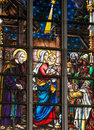 Stained glass magi or the three kings from the east depicting visiting infant jesus in church of haacht belgium Stock Images