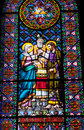 Stained Glass Mary Joseph Marriage Monestary Montserrat Royalty Free Stock Photography