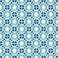 Stained glass mosaic seamless surface pattern. Moroccan ceramic tile motif. Openwork ornament. Kaleidoscope background.