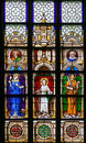 Stained Glass - Mother Mary, Jesus and Saint Joseph Royalty Free Stock Photo