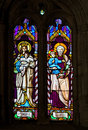 Stained Glass - Mother Mary and Saint Joseph, Jesus' parents Royalty Free Stock Photo