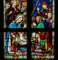 Stained Glass - Nativity Scene at Christmas Royalty Free Stock Photo