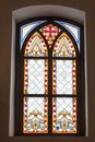 Stained glass old window of Palanok Castle in Royalty Free Stock Photo