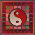 Stained glass panel with yin yang center Stock Image