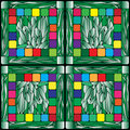 Stained glass plants background with and multicolored squares pattern composition Royalty Free Stock Photo