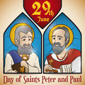Stained Glass Portraits of Saints Peter and Paul for Solemnity, Vector Illustration