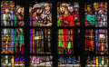 Stained glass of the sacrament of marriage window depicting or holy matrimony with pepin landen and itesberga united in Royalty Free Stock Photo