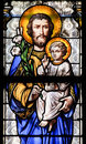 Stained Glass - Saint Joseph and Jesus as a Child Royalty Free Stock Photo