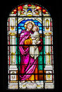 Stained Glass of Saint Joseph and Jesus in the church of Garachico, Tenerife Royalty Free Stock Photo
