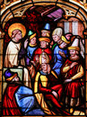 Stained Glass - Saint Vigor in the Cathedral of Bayeux Royalty Free Stock Photo