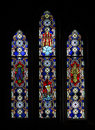 Stained glass in sanctuary bethel college mennonite church windows of north newton kansas Stock Photo