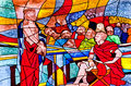 Stained glass showing Jesus condemned to death Stock Images
