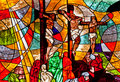 Stained glass showing Jesus crucifixion