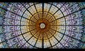 Stained-glass skylight of the Palau de la Musica Catalana, Concert Hall by Lluis Domenech i Montaner. Barcelona, Catalonia. Royalty Free Stock Photo