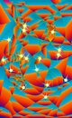 Stained-glass style night sky. Blurred abstract lanterns, on blue background. Stars, with clouds. Vector, backdrop heaven illustra