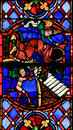Stained Glass in Tours Cathedral - Good and Evil Royalty Free Stock Photo