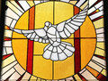 Stained glass white dove with setting sun Royalty Free Stock Photo