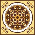 Stained glass window. Abstract Flower in square frame, geometric, window on the ceiling in square frame, symmetric composition, ve Royalty Free Stock Photo
