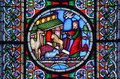Stained glass window of the animals going into Noahs Ark Royalty Free Stock Photo