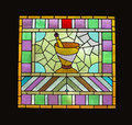 Stained glass window apothecary window isolated. Royalty Free Stock Image