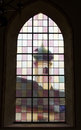 Stained glass window in the cathedral in the town of kufstein close to the fortress Royalty Free Stock Photos