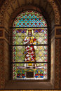 Stained glass window catholic from a church of the north of serbia Stock Photography