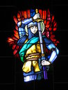 Stained glass window of knight in church Royalty Free Stock Photo