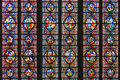 Stained glass window of church in Dinant, Belgium Royalty Free Stock Photo