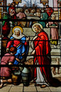 Stained glass window in the church of Houlgate in Normandy Royalty Free Stock Photo