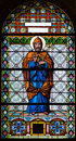 Stained glass window from a church of the north of serbia Royalty Free Stock Photo