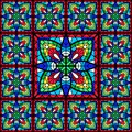 Stained-glass window with colored piece. Royalty Free Stock Photo
